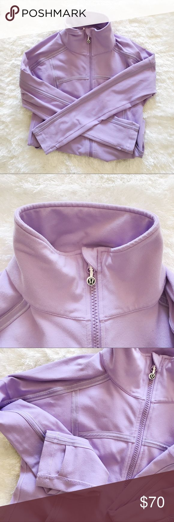 LULULEMON | Define Jacket LULULEMON | Define Jacket • Super cute, slim fit zip up jacket. Rare color, light purple. Fits close to your body with stretch. Front pockets, thumb holes & cuffins. Used condition & great quality! No flaws other than little pilling because of soft material.   🌿Offers are welcome! Please use offer button. Bundle & save 10%! lululemon athletica Jackets & Coats