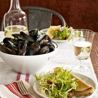 Mussels Marinière with Bacon Frisée Salad