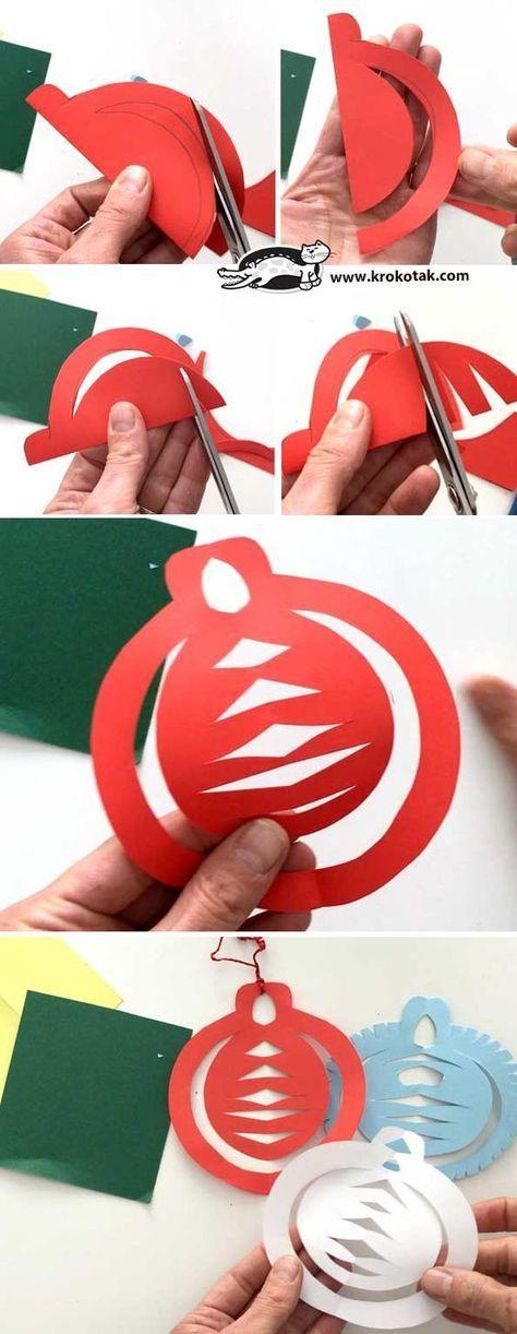 Paper christmas ornaments Activités simple avec du papiers spécial Noël