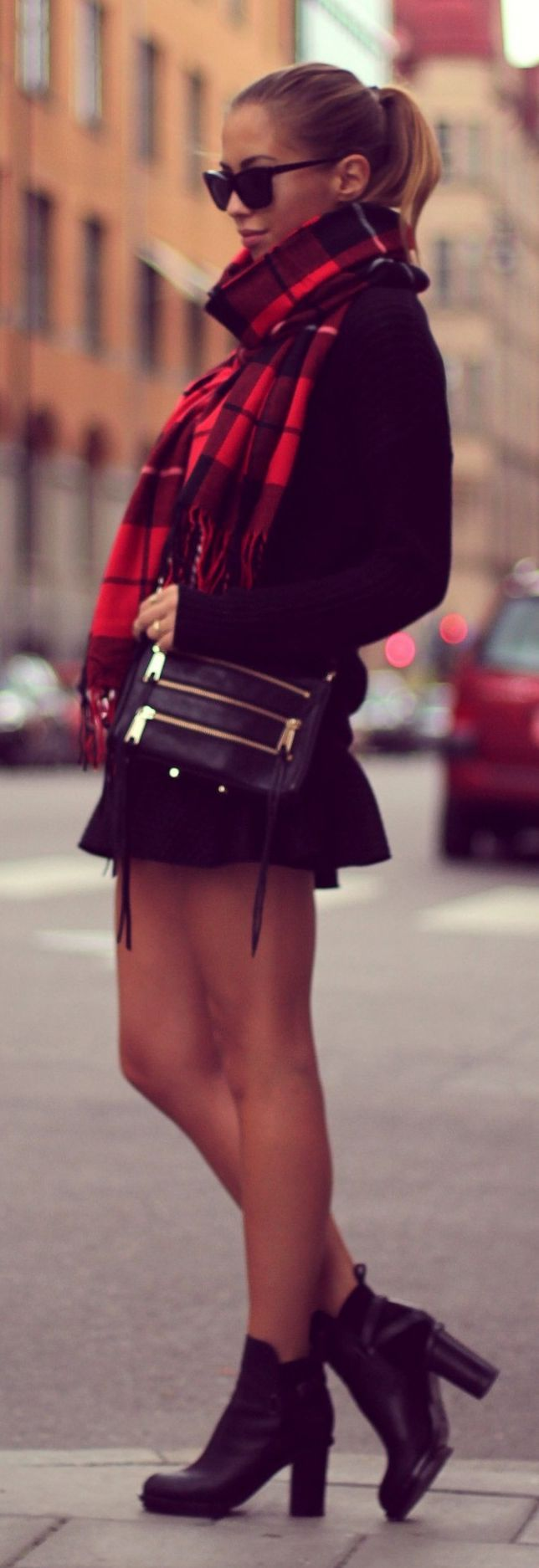 high neck black jumper, tartan scarf, mini pleat scuba skirt asos, black leather ankle heel boots, hair, bag - winter chic