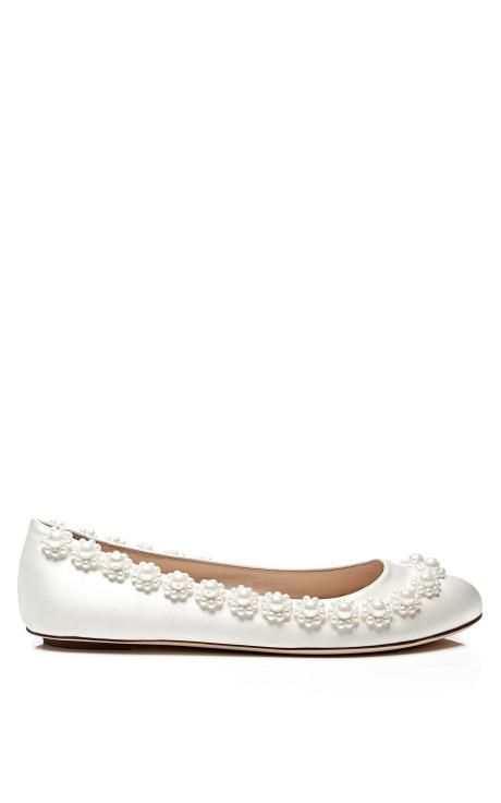 Pearl-Embellished Satin Flats by Simone Rocha Now Available on Moda Operandi