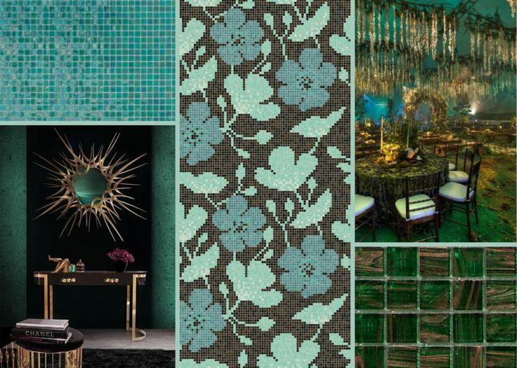Decor 15x15 Sakura Green #mosaicopiu #emerald #green #decoration #design #glassmosaic
