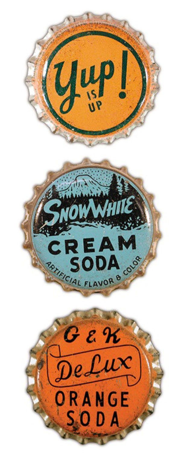 #Retro #bottle #caps from what looks like the 1960's. Check out the Snow White Cream Soda cap!