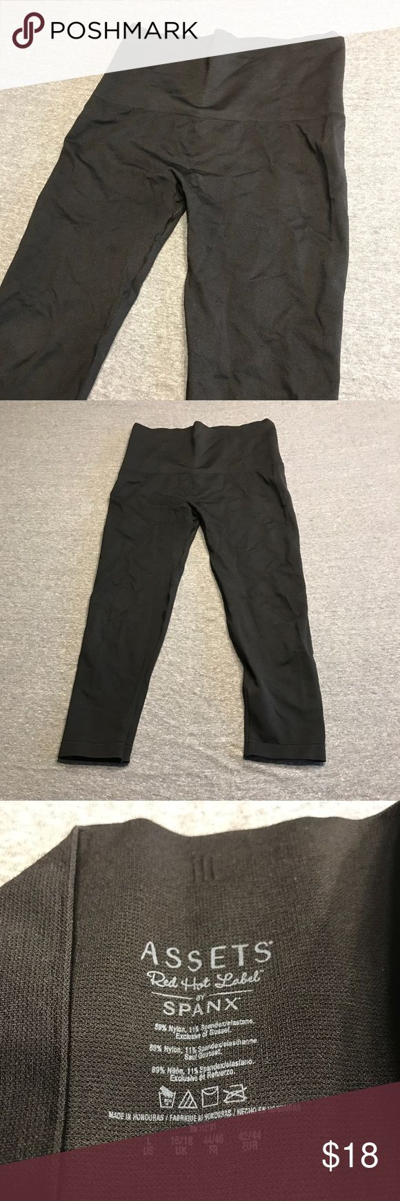 Assets Red Hot Label by Spanx Leggings Capris Assets Red Hot Label by Spanx leggings. Solid black. Shaping waistband flattens tummy for a flawless look. Extremely comfortable and not see through! Assets By Spanx Pants Leggings