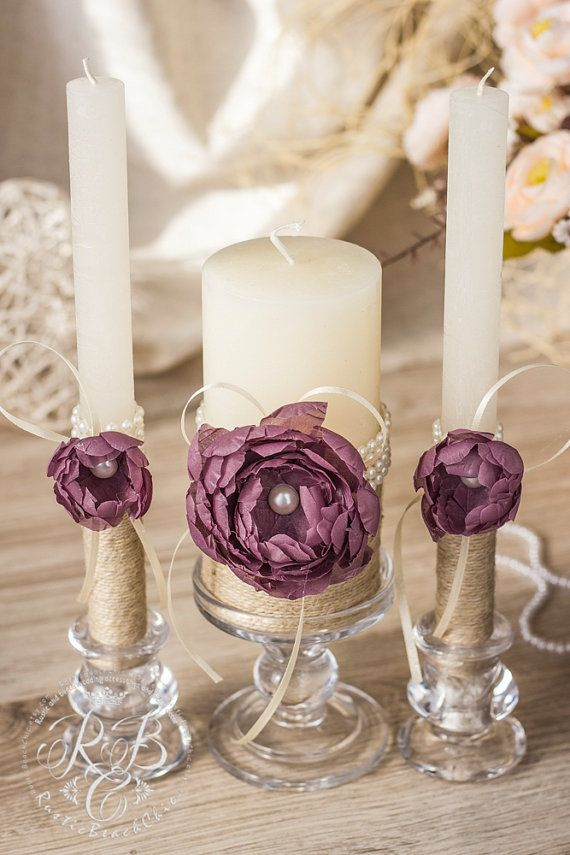 Purple wedding, pillar candles, flower wedding, unity candles, rustic chic, cottage chic, barn, votive candles,  ivory candle set, 3pcs