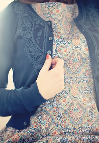 Lace on a sweater; love the texture it adds to the printed camisole