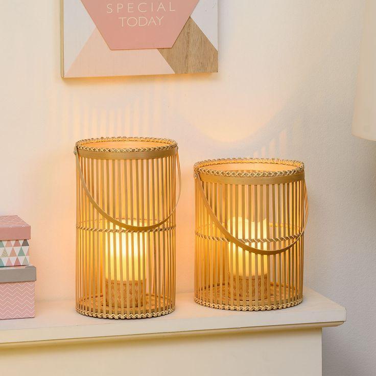 Lanterne in bambù con candele led effetto fiamma per abbellire la camera da letto con le luci decorative