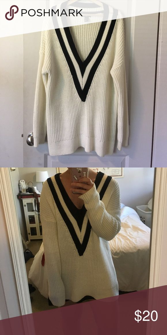 HM varsity sweater Varsity sweater from H&M. Really cute and trendy! Only been worn a couple times H&M Sweaters V-Necks