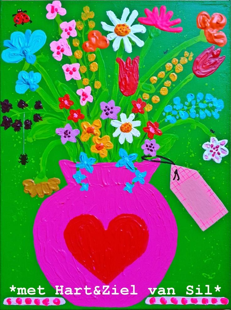 ~Bloemen-schilderij: origineel om op te sturen met een verjaardag e.d. Gemaakt door mijzelf. De gewenste tekst kan op het geschilderde kaartje geschreven worden~