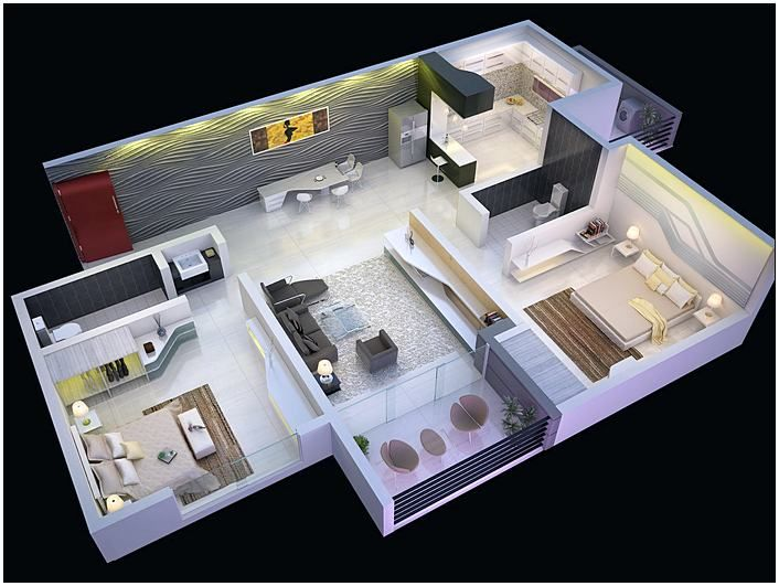 Incroyable 2 Bedroom House Plans Open Floor Plan