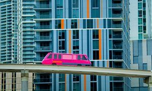 Where do you start? An elevated Metromover in Miami, Florida.