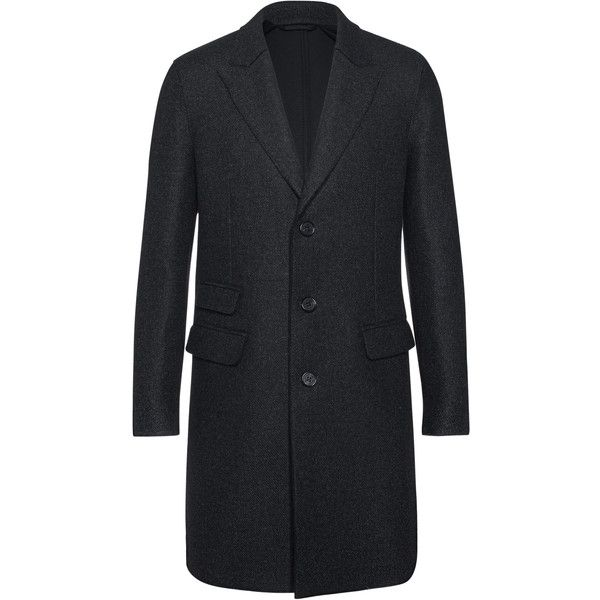 NEIL BARRETT Classic Wool Anthra // Virgin wool cashmere coat (€2.369) ❤ liked on Polyvore featuring men's fashion, men's clothing, men's outerwear, men's coats, mens wool cashmere coats, mens wool coats, mens wool outerwear, mens slim fit coat and mens slim fit wool coat