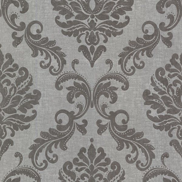 sebastion grey damask wallpaper design by brewster home fashions - Home Wallpaper Designs