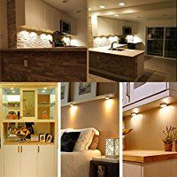 3-pack Wireless LED Cabinet Light, Dimmer with Controller, 5 Bright LED Lights for Kitchen Cabinets Closets, Attics, Garages, Car, Sheds, Storage Room + Remote Control, Warm White