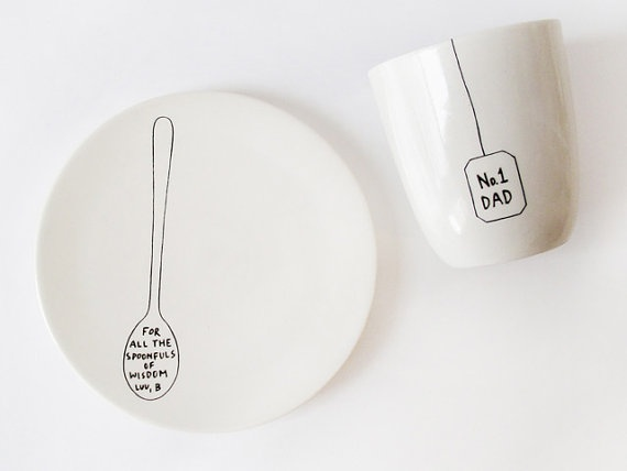 """#1 dad"" plate and mug set. This would be great for having breakfast :) JB"