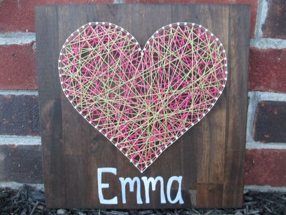 String Art Heart Nail and String Art Nursery por AJLyonsDesigns