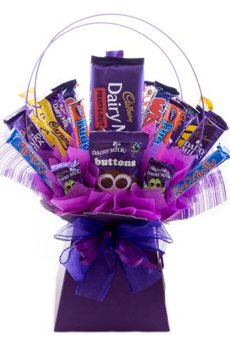 The Cadbury`s Chocolate Bar Bouquet is perfect whether your a big kid or a small one! We have taken a selection of the most popular Cadbury`s chocolate bars to create this scrumptious masterpiece. See www.thechocolateflorist.co.uk to find out more.