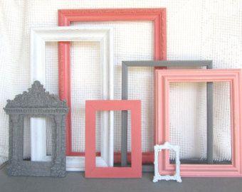 Coral, Grey White Ornate Vintage OPEN Frames Set of 7- Upcycled Frames Modern Bedroom Decor Coral Peach Grey White Nursery