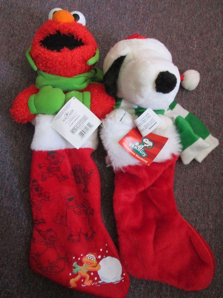 Snoopy OR Elmo Plush Christmas Stocking-----CHOOSE 1