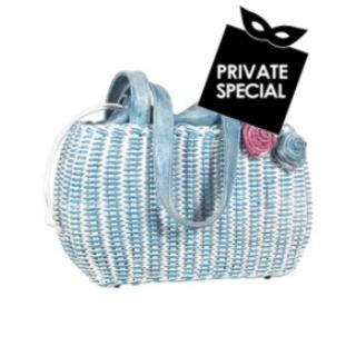 Capaf Sky Blue Wicker and Leather Tote Bag