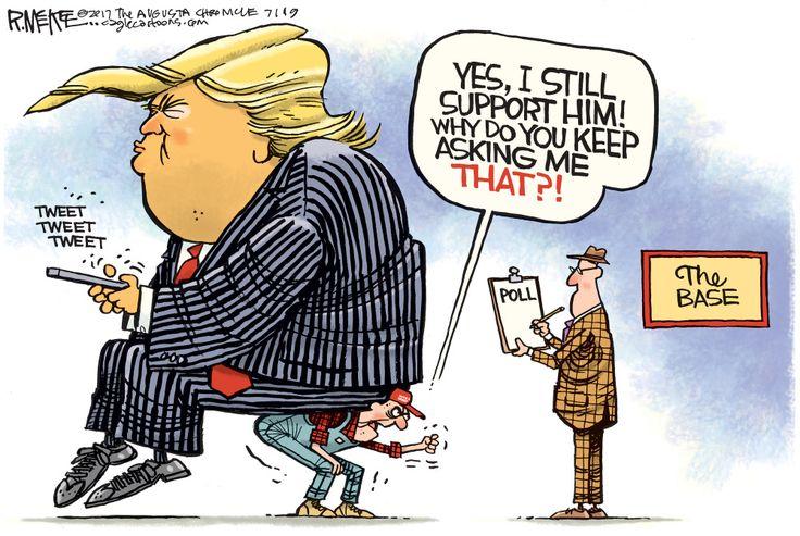 Political cartoon U.S. Trump MAGA tweets base poll Funny