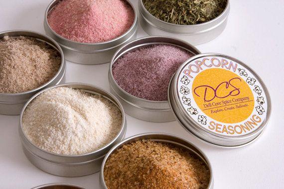 Popcorn assaisonnement sels gourmet - échantillonneur popcorn aromatisé - pour vos grains de maïs soufflé - 8 boîtes de conserve dans une boîte cadeau