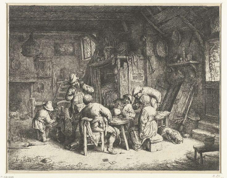 Adriaen van Ostade   Boeren aan een maaltijd in een herberg, Adriaen van Ostade, 1647 - 1652   In een rommelig vertrek in een herberg gebruiken vier mannen en een vrouw een maaltijd. De drank vloeit rijkelijk en de mannen roken pijp. Een jongen helpt een klein kind met drinken uit een kruik. Op de grond liggen speelkaarten, een gebroken pijp en een lege kan.