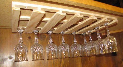 24 wine glass stemware wood holder rack under cabinet bar new