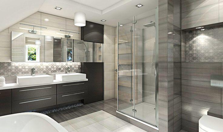 Nowoczesna łazienka na poddaszu  Projekty łazienek  -> Nowoczesna I Klasyczna Kuchnia