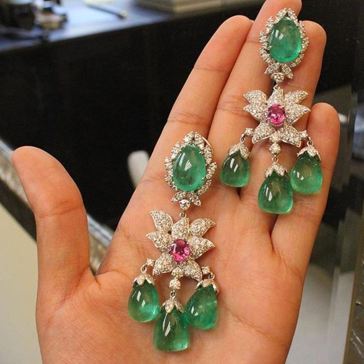 """1,291 Likes, 13 Comments - BOLA   3 Jewelry (@bola3jewelry) on Instagram: """"EXQUISITE!!!  #Emerald and #Diamond Earrings by @andreolifinejewelry #hautejoaillerie…"""""""