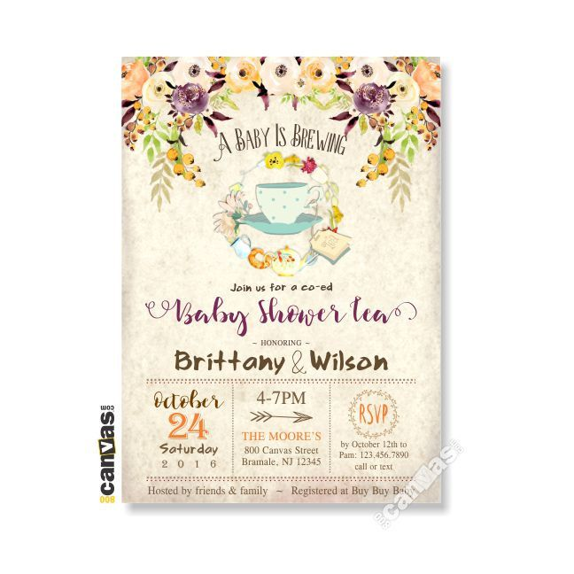 fall baby shower invitation tea party a baby is brewing floral tea party autumn couples shower itu0027s a girl boy gender neutral bs38