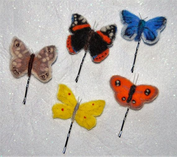 https://www.etsy.com/uk/listing/492878698/needle-felted-british-butterfly-hair?ref=listing-shop-header-1 Needle Felted British Butterfly Hair Clip Grip Bridal Wedding Hair Accessory Valentines Day Gift Boxed  Choose Species (sold individually)