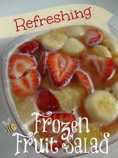 Refreshing Frozen Fruit Salad.  Looks yummy to keep in freezer for ice cream cravings.   For a not so healthy treat - I wonder how vodka would do in this recipe?