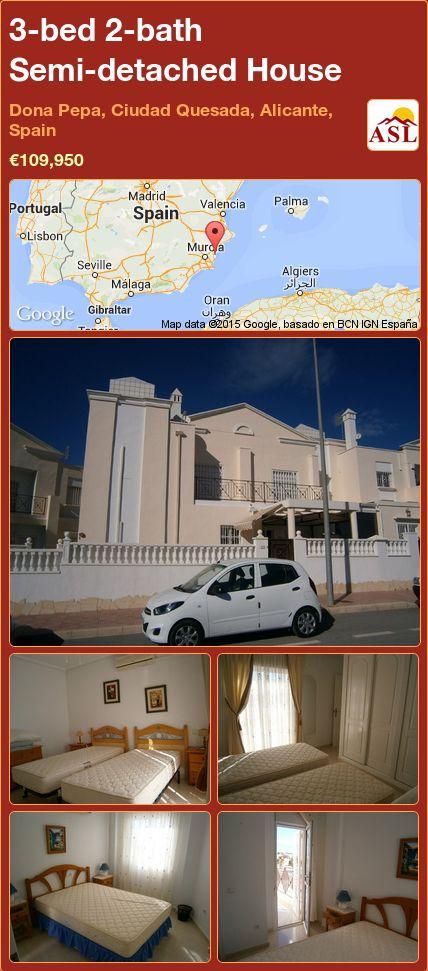 3-bed 2-bath Semi-detached House in Dona Pepa, Ciudad Quesada, Alicante, Spain ►€109,950 #PropertyForSaleInSpain