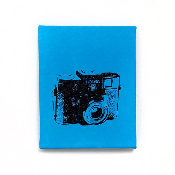 Vintage Camera Canvas Wall Art: Holga (Light Blue w/ Black) Screenprint/Painting, Camera Pop Art, Blue Home Decor, Old Fashion Camera Art etsy
