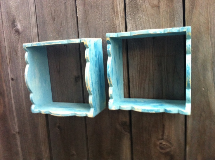 2 Beach Blue Cubby Shelves handpainted and distressed perfect for bathroom bedroom or kitchen. $25.00, via Etsy.