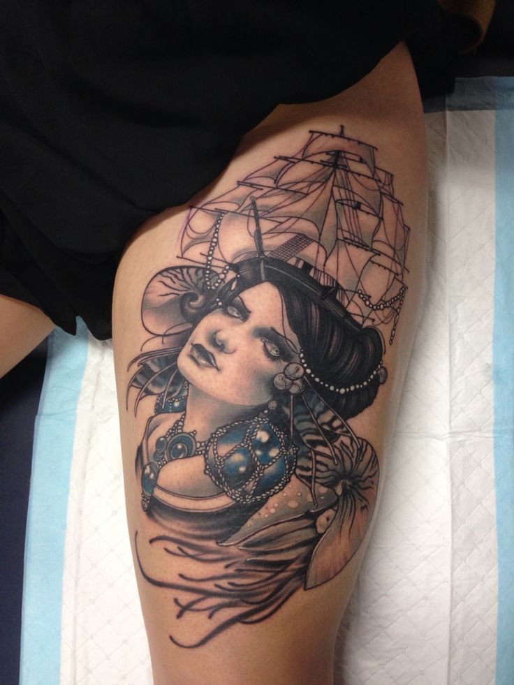 Nautical themed tattoo with woman wearing elaborate ship ...