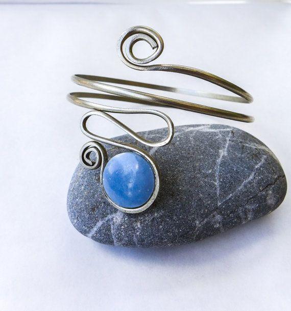 Arm cuff, Upper Arm bracelet, armlet, German Silver with Blue natural Celestite gemstone, round blue stone, silver cuff, Boho, Gypsy, Indian
