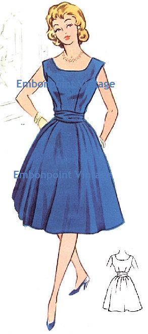 Plus Size (or any size) Vintage 1950s Dress Pattern - PDF - Pattern No 60 Kathryn. $8.50, via Etsy.