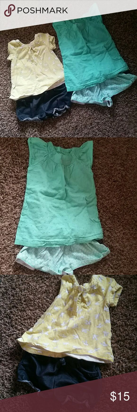 18 month girls summer shorts outfits Carter's Yellow with denim looking shorts top has little birds on it. Kids Korner Mint green shorts outfit Matching Sets