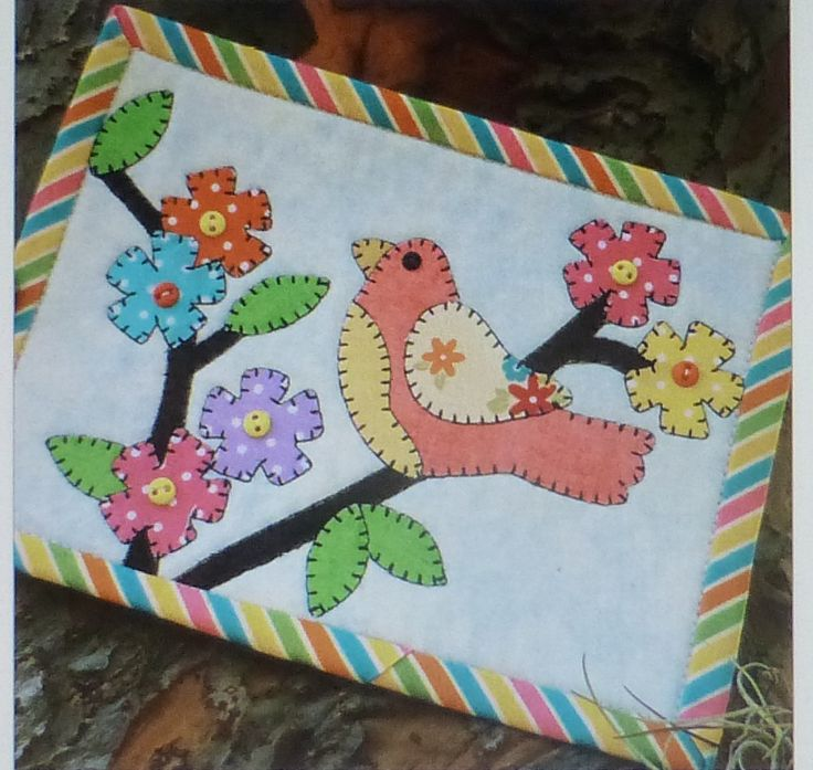 BIRDIES DELIGHT Laser Cut Mug Rug Kit, Applique Kit, Sewing Kit~ Fast Shipping K148