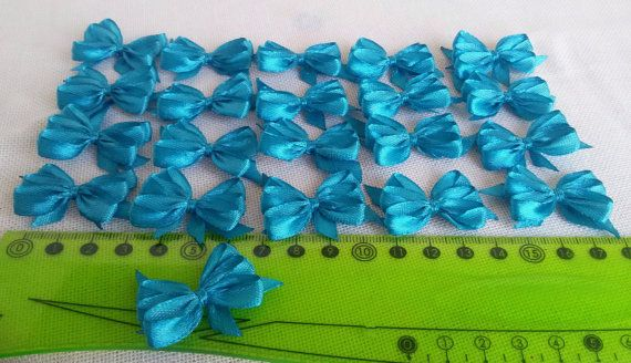 Handmade satin bows light blue applique bows blue by Rocreanique on Etsy