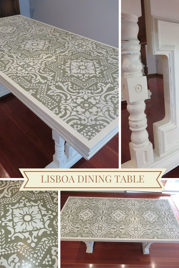 Unfortunately I don't have a before picture but this was an orangey veneer dining table from the 70's. Some Chateau Gray and Old White chalk paint combined with Lisboa tile stencil makes this table one of my favourites.