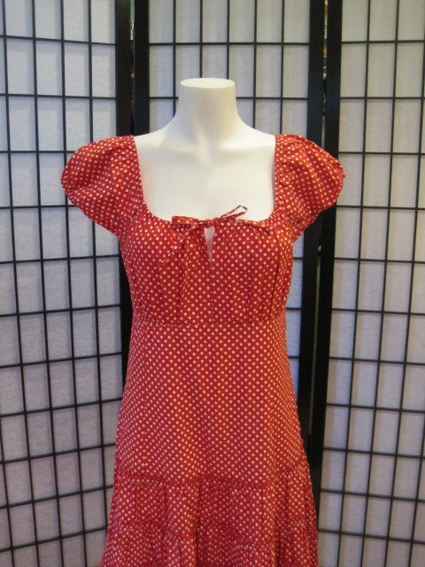 Vintage Gaya Red with White Polka Dots Rockabilly Dress 40 Summer Picnic Square Dance Frock Medium Folky Peasant. $40.00, via Etsy.