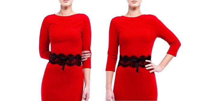 Gotowy wykrój - czerwona dzianinowa sukienka. Model 0293.