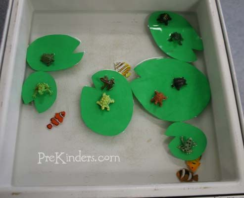 This is a fun sensory table to go with a pond or water animals theme. First, cut green craft foam sheets into lily pad shapes. Pour water in the sensory table, and add the lily pads. Then add some small plastic animals, such as fish in the water, and turtles and frogs to place on the lily pads. The craft foam lily pads will float even after you put animals on top of them.