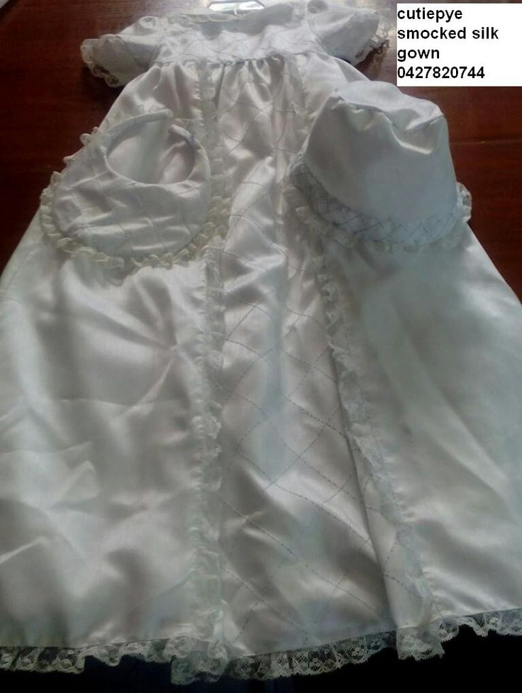 cutiepye couture silk gown 0427820744 with bib and hat $300