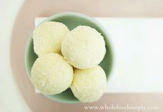 Lemon Cheesecake Bliss Balls. Simple, delicious and free from gluten, grains, egg, nuts and refined sugar. Enjoy.
