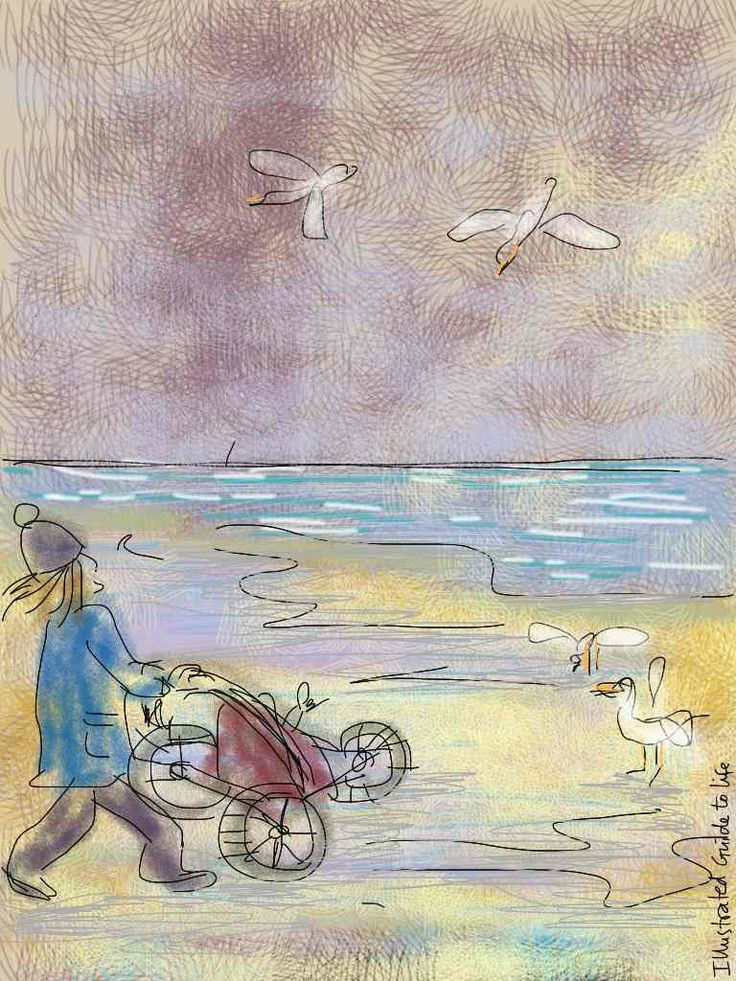 Dear Spring, * * *  Thunder. Then sun. Dust cloud. Fog. And the wind. Yes, you, Spring. You blow hot and cold. http://illustratedguidetolife.com/2014/04/22/dear-spring-mindfulness-noticing/  Illustration drawing ipad painting: buggy walk on the beach cloudy windy seagulls