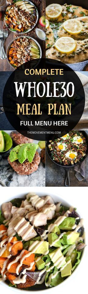 Whole30 meal plan that's quick and healthy! A complete, full menu for your Whole30! Whole30 recipes just for you. Whole30 meal planning. Whole30 meal prep. Healthy paleo meals. Healthy Whole30 recipes. Easy Whole30 recipes. Best paleo shopping guide.